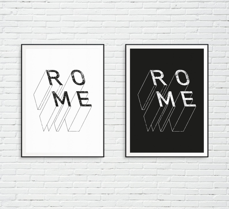 Minimalism City name print Line art Wall art Scandinavian print Boho City name Printable wall art Rome Rome city name Rome poster