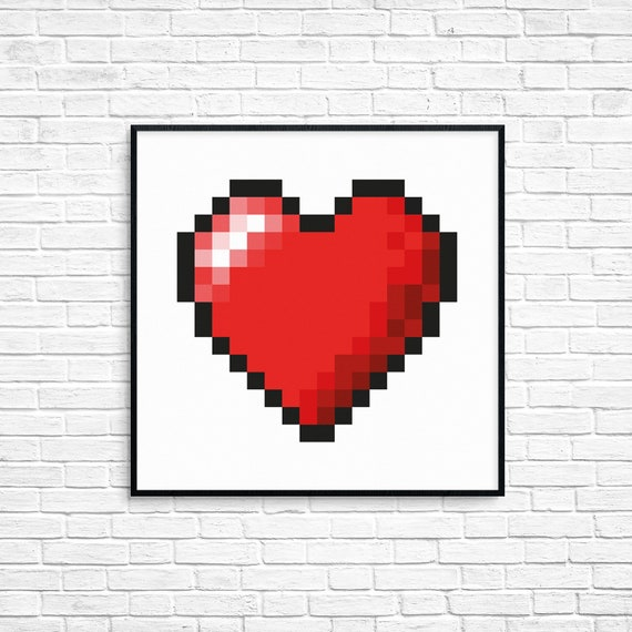 Heart Pixel Heart Love Print Love Game Heart Pixel Art Valentines Gift Wall Art Printable Wall Art Wedding Gift Couples Gift