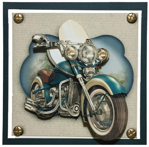Blue Motorcycle Greeting Card Motorbike Birthday Card Etsy
