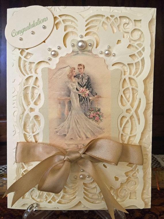 Vintage Stil Hochzeitskarte Braut Und Brautigam Etsy