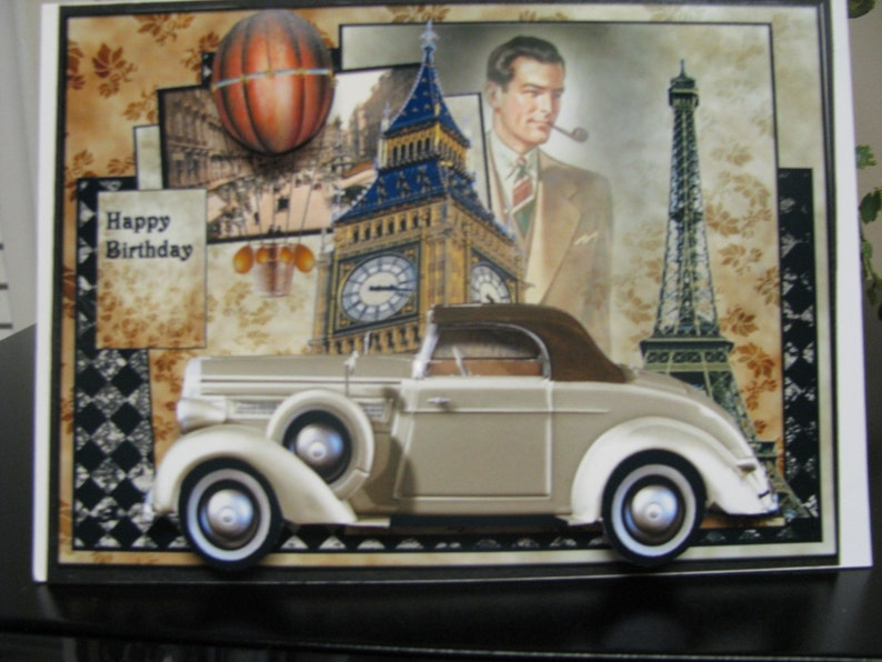 Sports Car Greeting Card 3D Antique Gold Vintage Style