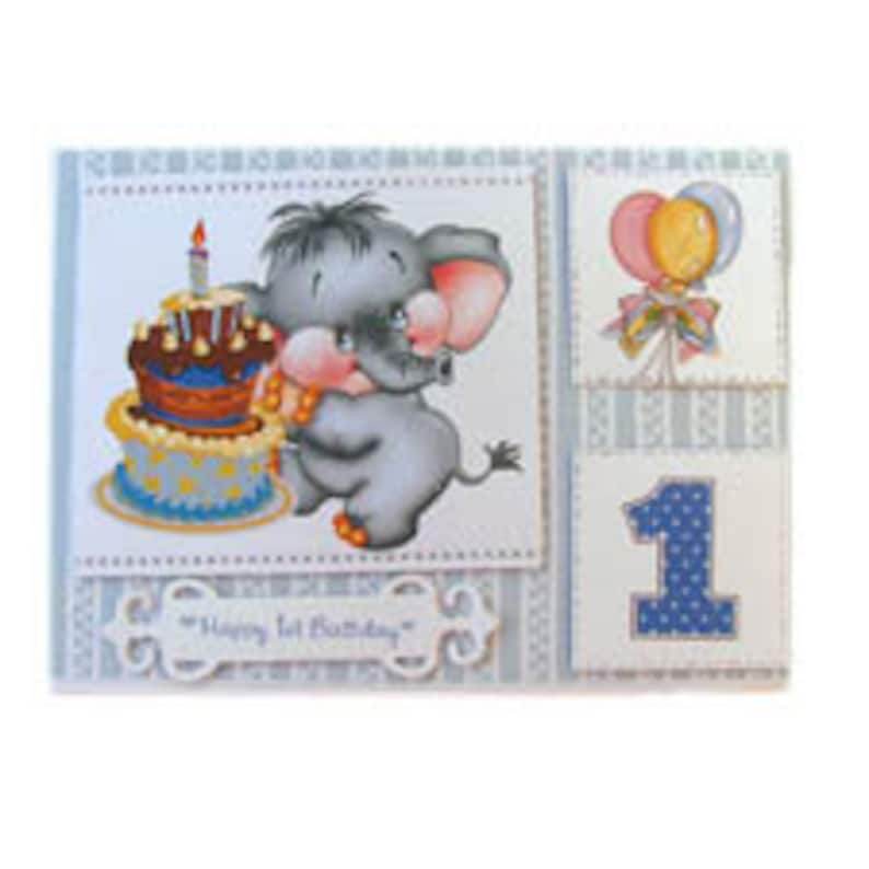 Birthday Card One Year Old Boy Baby Elephant 1st Blue First Gift