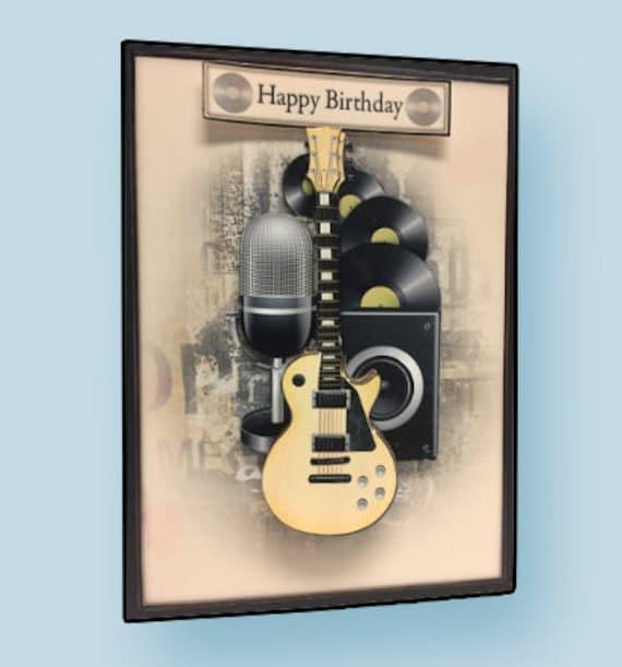 Happy Birthday Card Guitar Player Musician Gift Handmade