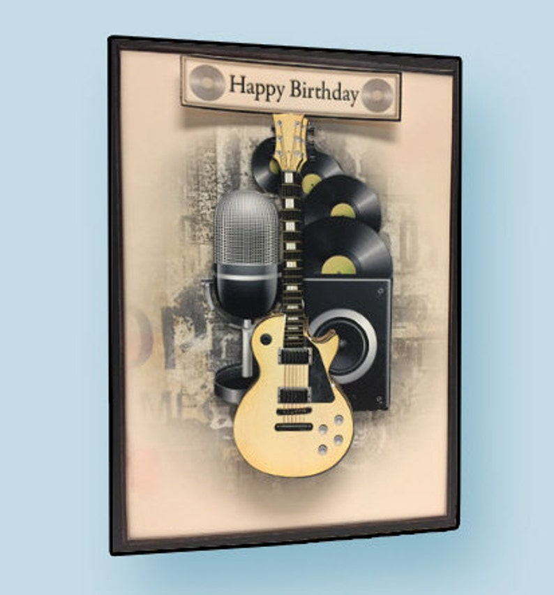 Happy Birthday Card Guitar Player Musician Gift Handmade