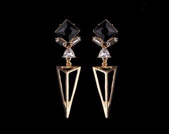 Long Triangle Drop Earrings Gold-Black