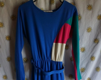 1980s Toni Petite Colorblocked Dress, Size 4