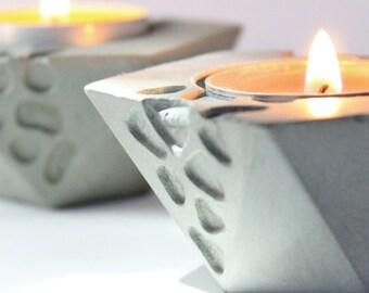 Bougie titulaires béton ciment moderne décor industriel mariage thé bougeoir chandelier gris pendaison de crémaillère idée cadeau invité