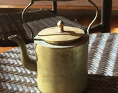 Vintage Brass Chinese Teapot with Wood Handle