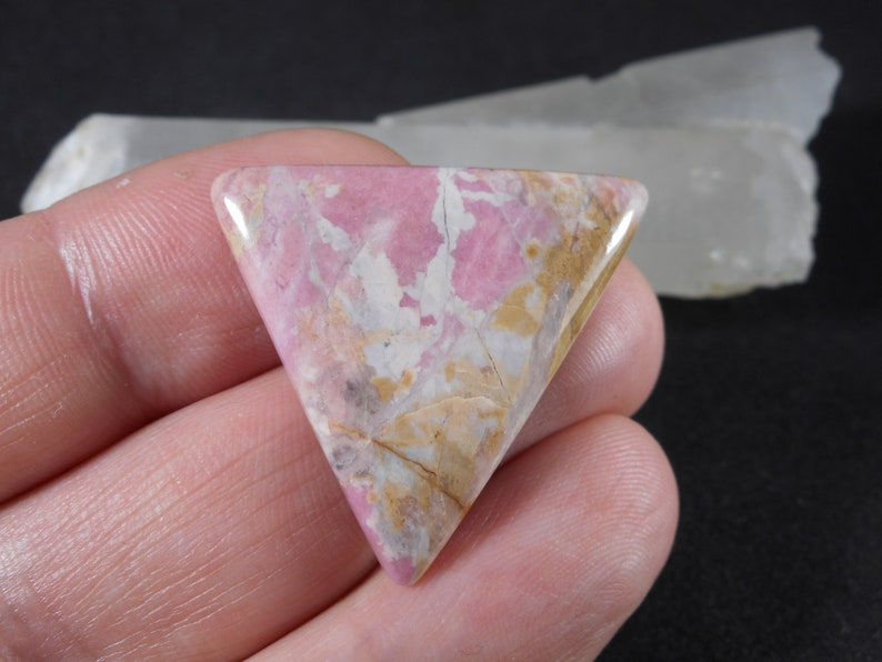Pink Rhodonite triangle cabochon 1.33 Rare Russian gemstone Rhodonite Designer Cut Cabochon Natural stone from Ural