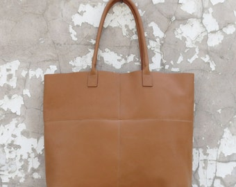 Mira Large Tote in Tan or Teal Leather