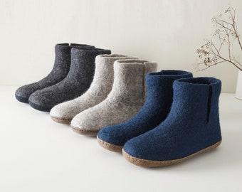 Fair Trade Handmade Eco Felt Unisex Slipper Boots Suede Soles