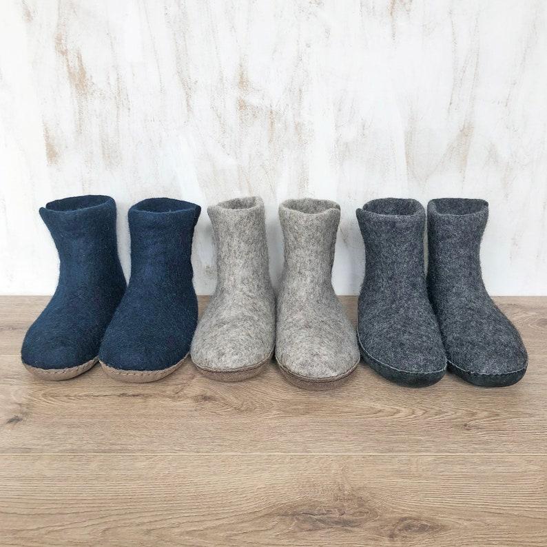 Fair Trade Handmade Eco Felt Unisex Slipper Boots Suede Soles image 0