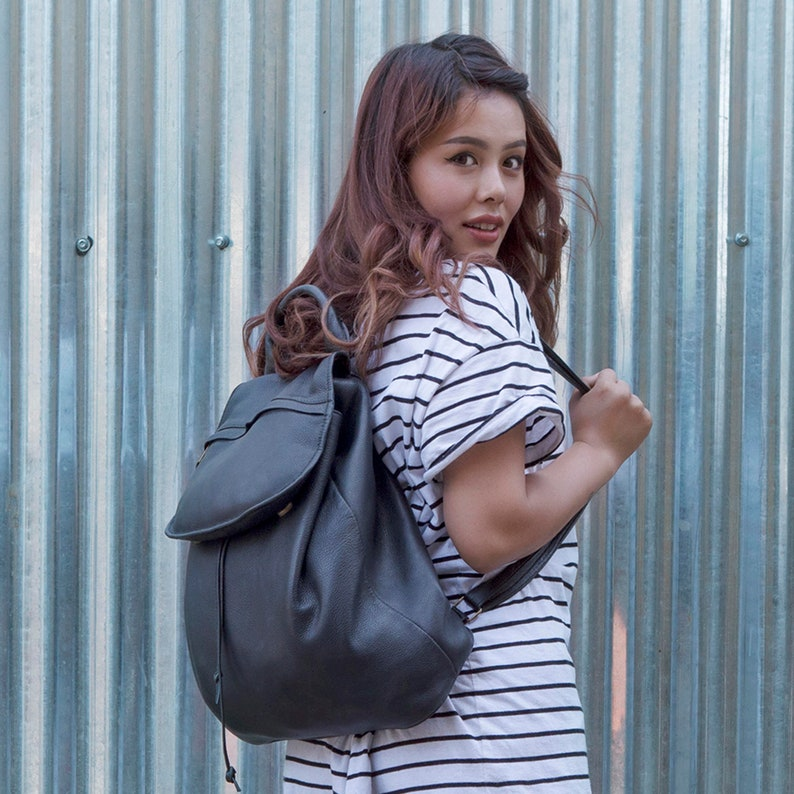 Fairtrade Handmade Large Leather Backpack in Black or Taupe  298a067db71b3
