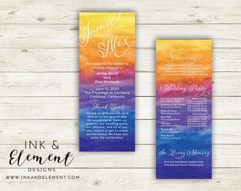 Beachy wedding programs, beachy wedding stationery set, sunset wedding programs, sunset wedding stationery set, colorful wedding stationery