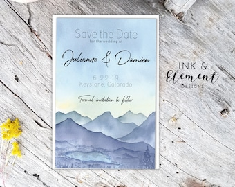 Misty Mountains Save the Date Set | Misty Mountains Wedding Invitation | Rustic Wedding |  Printable or Printed | Fast, free shipping