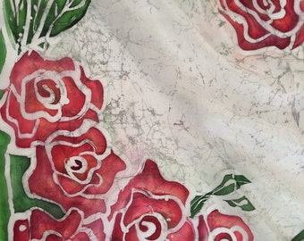 """Coupon,Squer scarf,Silk scarf,Handpainted scarf,29""""x29""""(75x75cm)Unique,Gift for women,ArtTeamShop, Present,Red rouses"""