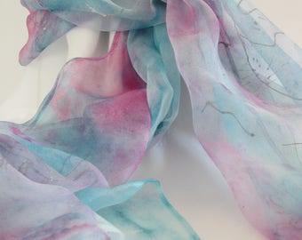 """Coupon,Shifon scarf,Silk scarf,Handpainted scarf,69""""x 17""""(175 x 45cm),Unique,Christmas gift,ArtTeamShop,Handmade,Gift for women"""