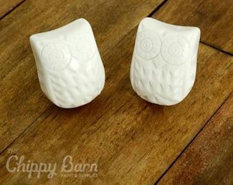 Bone Resin Owl Knobs