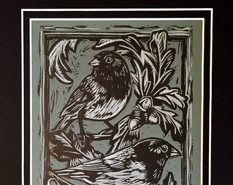 Juncos, hand-printed Linocut, hand embellished in white