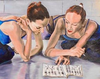 Ballerinas doing crossword puzzles! Acrylic painting
