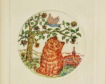 Gatifundio--Hand colored etching of cat and bird
