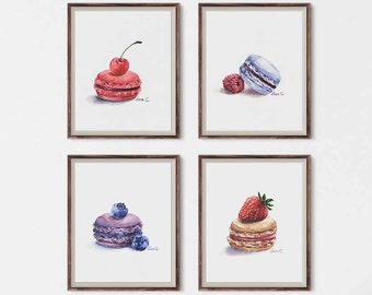 Watercolor Print Set | Macaron set No.1 - Macaron Art , Dessert Art, Kitchen Art, Food Illustration Watercolor Art Print