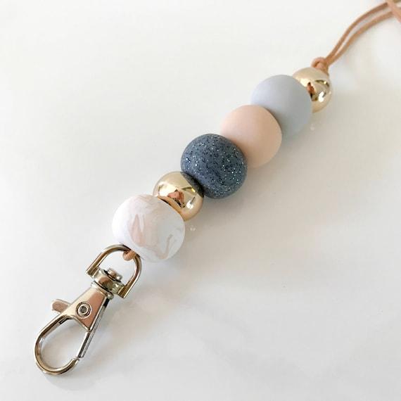 geometric lanyard necklace teacher lanyard silicone bead lanyard ID holder leather red lanyard work lanyard modern lanyard