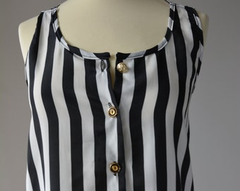 Ladies top, black and white striped with nautical buttons