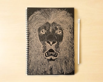 Lion Kraft Notebook/Sketchbook Spiral Bound - Blank pages