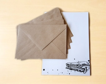 Stationery Letter Writing Set with kraft envelopes - Cadillac Car