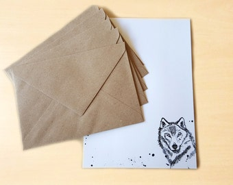 Stationery Letter Writing Set with kraft envelopes - Wolf