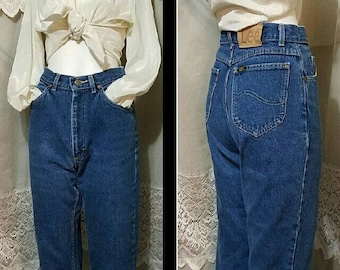 aef94591c6d Vintage 70s Jeans LEE Riders Most Comfortable High Waisted Ankle Mom Jeans  Pedal Pushers Denim Capris Beach Boat Boyfriend Jeans 26