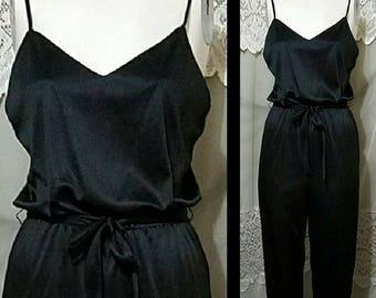 d0aa355f8b0 Vintage 70s 80s Jumpsuit 2pc Set Spaghetti Strap High Waist Jumpsuit   Black  Skinny Legs Jumpsuit Disco Floral Duster   Minimalist XS Small