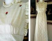 Vintage 70s Dress Cotton Ivory Prairie Maxi Dress Floral Applique Open Back High Collar Ruffle Spring Summer Boho Hippie Gunne Sax STYLE