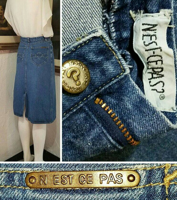 70s Skirt / N Est Ce Pas / Denim Jean High Rise H… - image 8