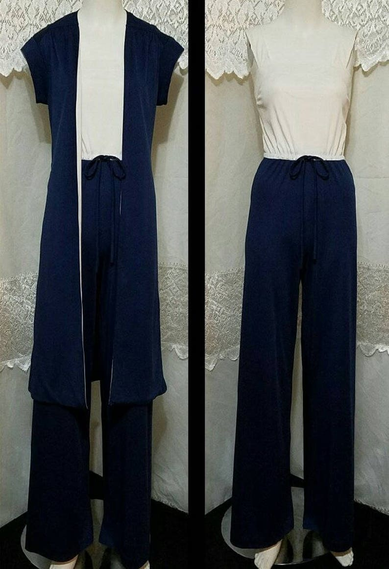 3ad54aa425a4 60s Jumpsuit 2 Piece Set Jumper Palazzo Wide Leg And Duster