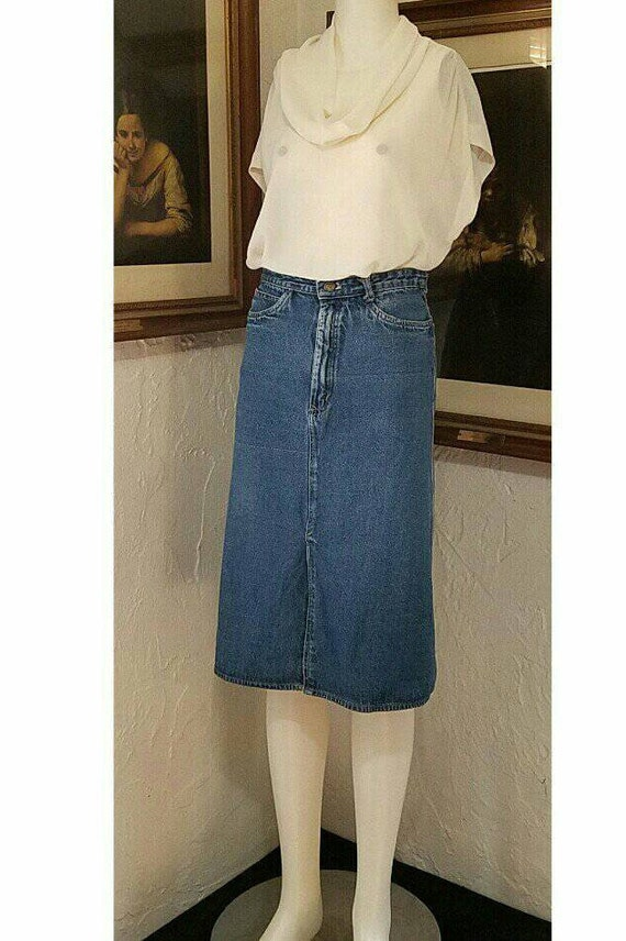 70s Skirt / N Est Ce Pas / Denim Jean High Rise H… - image 6