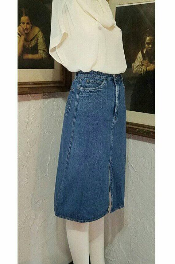 70s Skirt / N Est Ce Pas / Denim Jean High Rise H… - image 2