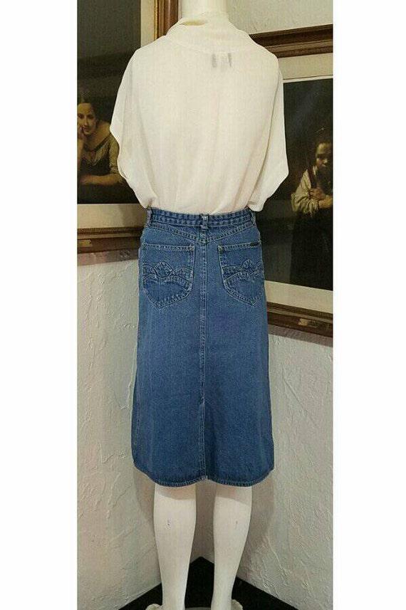 70s Skirt / N Est Ce Pas / Denim Jean High Rise H… - image 3