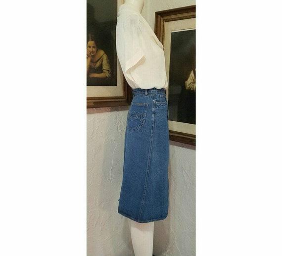 70s Skirt / N Est Ce Pas / Denim Jean High Rise H… - image 7