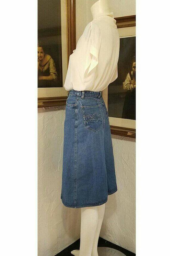 70s Skirt / N Est Ce Pas / Denim Jean High Rise H… - image 4
