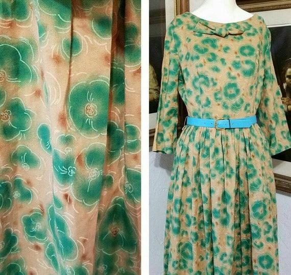 Vintage Best Cutest 50s Day Dress ALDENS Silkscree