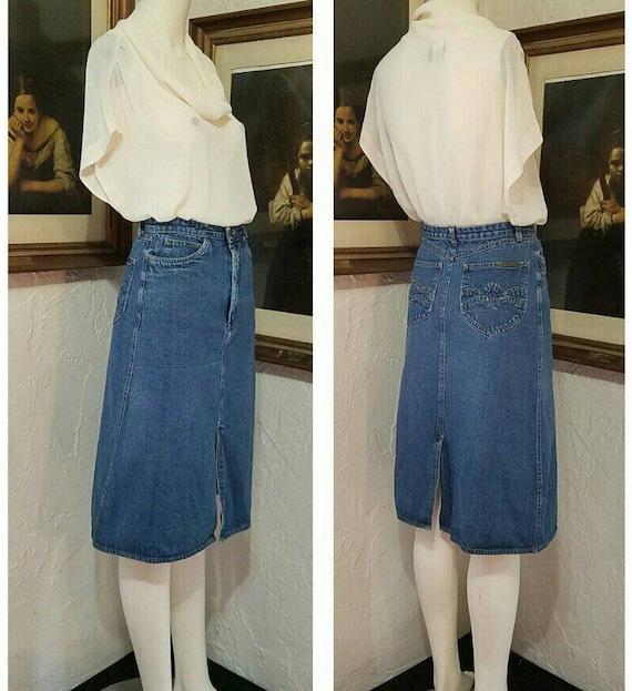70s Skirt / N Est Ce Pas / Denim Jean High Rise Hi