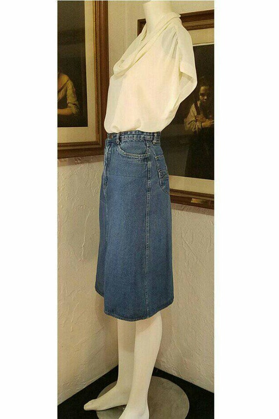 70s Skirt / N Est Ce Pas / Denim Jean High Rise H… - image 5