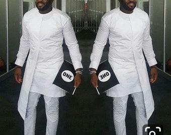 d5009af4ec19 White African men clothing, african wear,dashiki, dashiki shirt, wedding  groomsmen suit, wedding dashiki suit, African Prom Suit