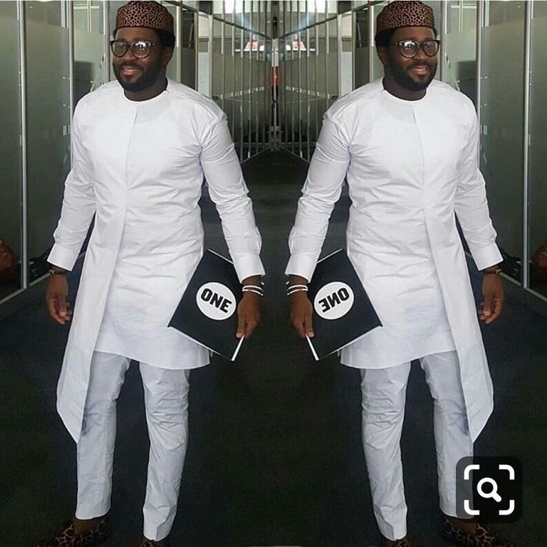 32214e2b53 White African men clothing, african wear,dashiki, dashiki shirt, wedding  groomsmen suit, wedding dashiki suit, African Prom Suit