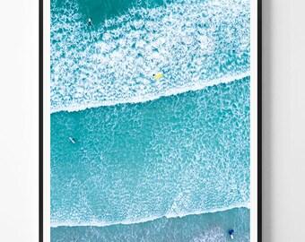 Beach Wall Art, Beach decor, Coastal Art Print, Modern Minimal Photography, Ocean Water, Printable Digital Instant Download, Blue Aqua