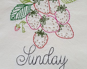 Vintage inspired Strawberry Flour sack towel