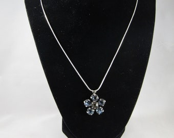 Ravenclaw Flower 39ss Swarovski crystal necklace blue and silver