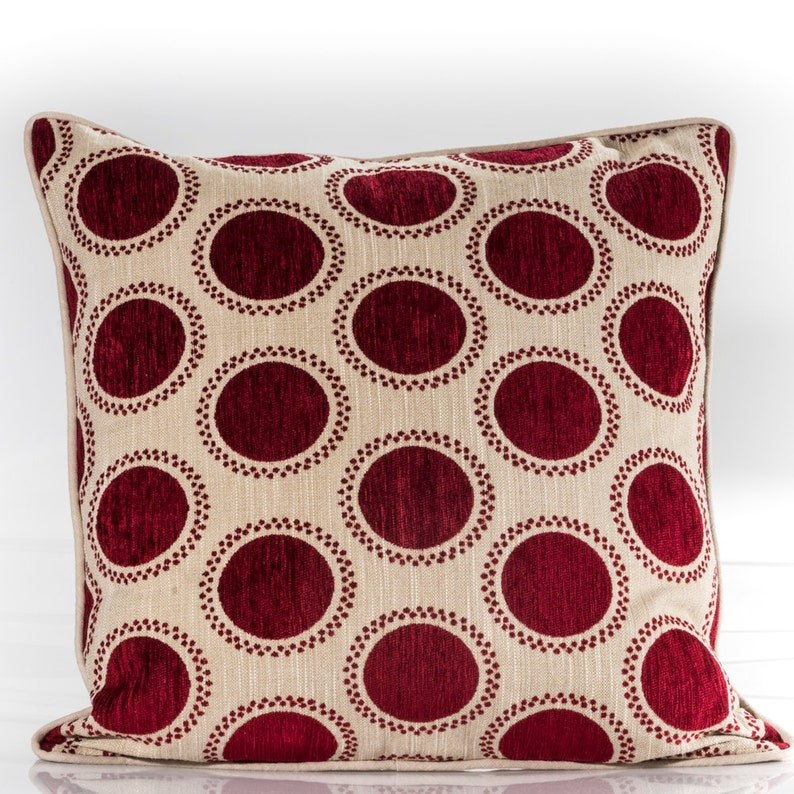 d84908b428 Red circles pillow cover red and beige pillow cover | Etsy